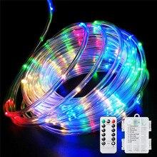 Télécommande et minuterie batterie corde lumières 5M 10M étanche led corde Tube chaîne lumières pour intérieur et extérieur noël mariage jardin