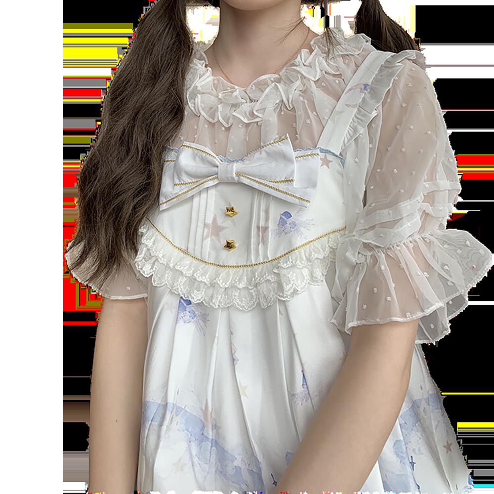 New Short-sleeved Lolita Shirts Crop Tops Jacquard Dots Perspective Shirt Mujer Bottoming Mesh Gauze Blouse Women Chiffon Shirt
