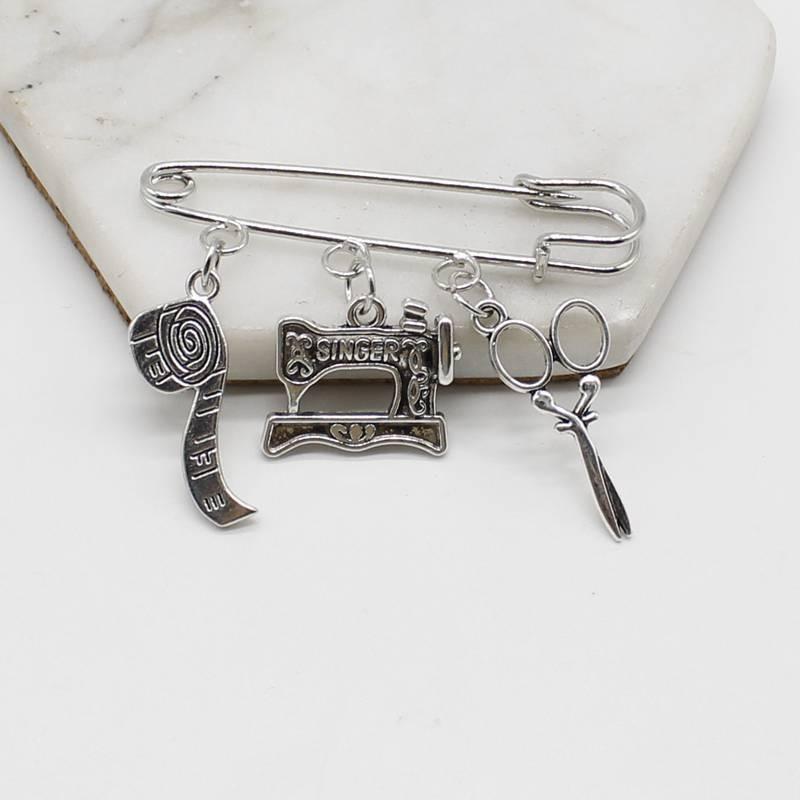 Clothing designer accessories sewing machine brooch, tailor brooch, elegant silver brooch cute jewelry
