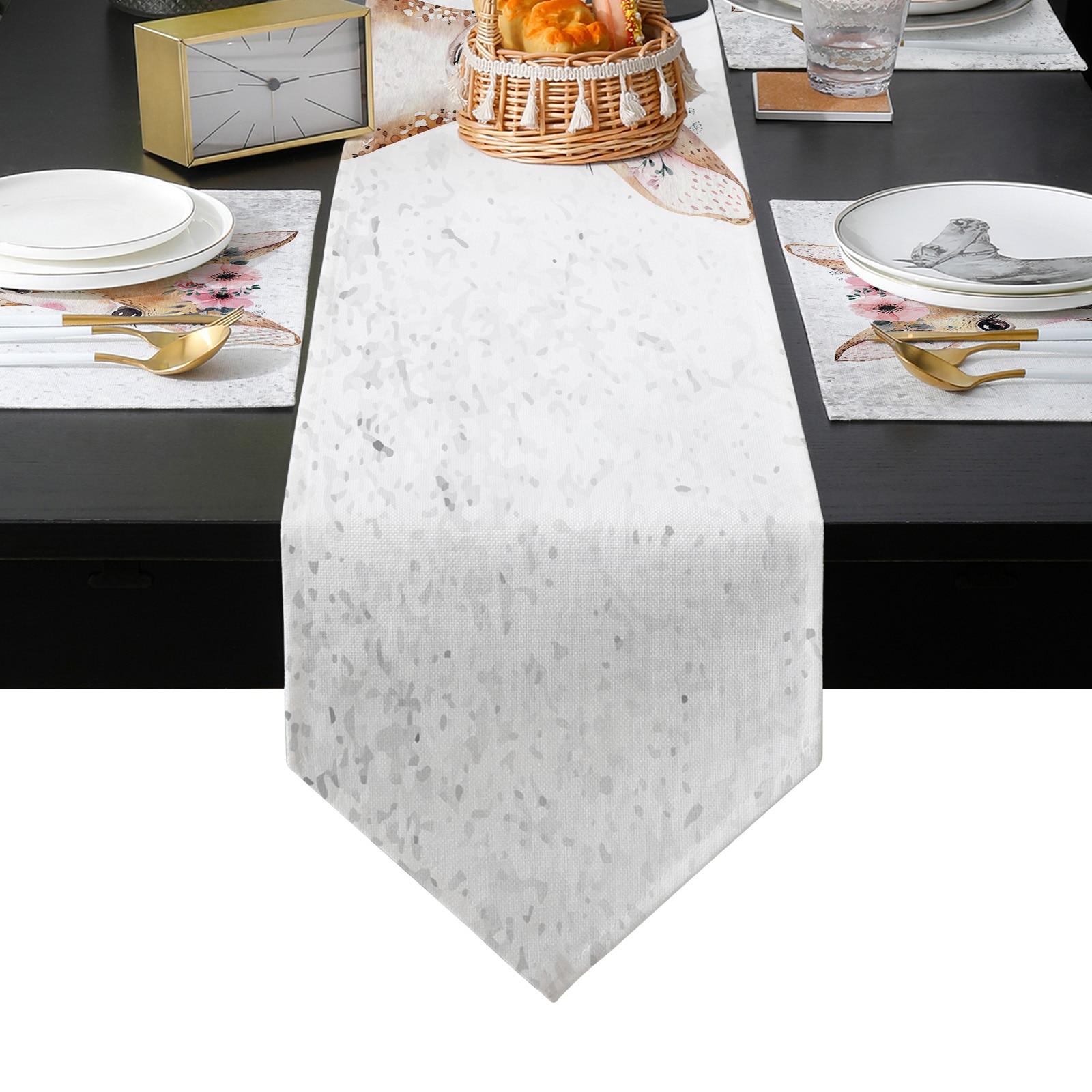 الكرتون الغزلان المائية الزهور الحيوانات الزفاف الجدول عداء الجدول حصيرة الجدول العلم الشاي غطاء الخزانة Tablecloth ديكور المنزل