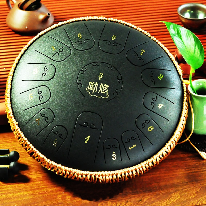 Steel Tongue Drum 14 Inch 15 Note Drum Handheld Tank Drum Percussion Instrument Yoga Meditation Beginner Music Lovers Gifts enlarge