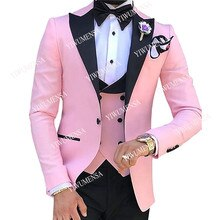 YIWUMENSA Black Pecked Lapel Pink Men Suits For Wedding Tailor-Made Slim Fit Groom Wear Prom Party F
