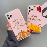 pumpkin happy fall autumn phone case candy color for iphone 6 6s 7 8 11 12 xs x se 2020 xr mini pro plus max mobile bags coque
