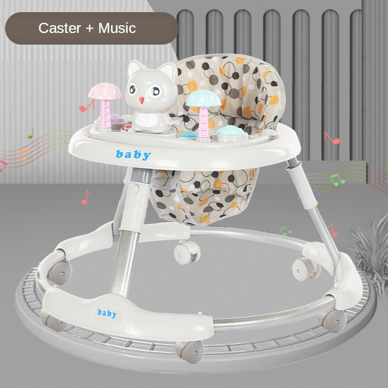 wholesale baby walker with 8 wheels anti runover multi function skating car with music toys learning walkers walking assistant Hot Children's Walker 6-18 Months Baby Walker Baby Multi-function Anti-rollover Walker with Music