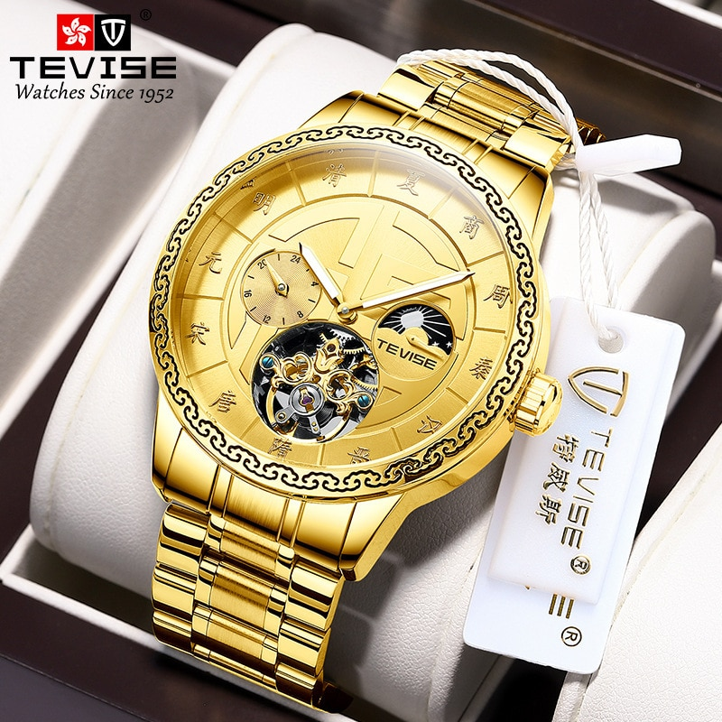 Tevise New 2021 Hollow Flag Round Men's Table Vintage Dynasty Watch Chinese Time Luxury High-Grade Night Light Automatic Fashion