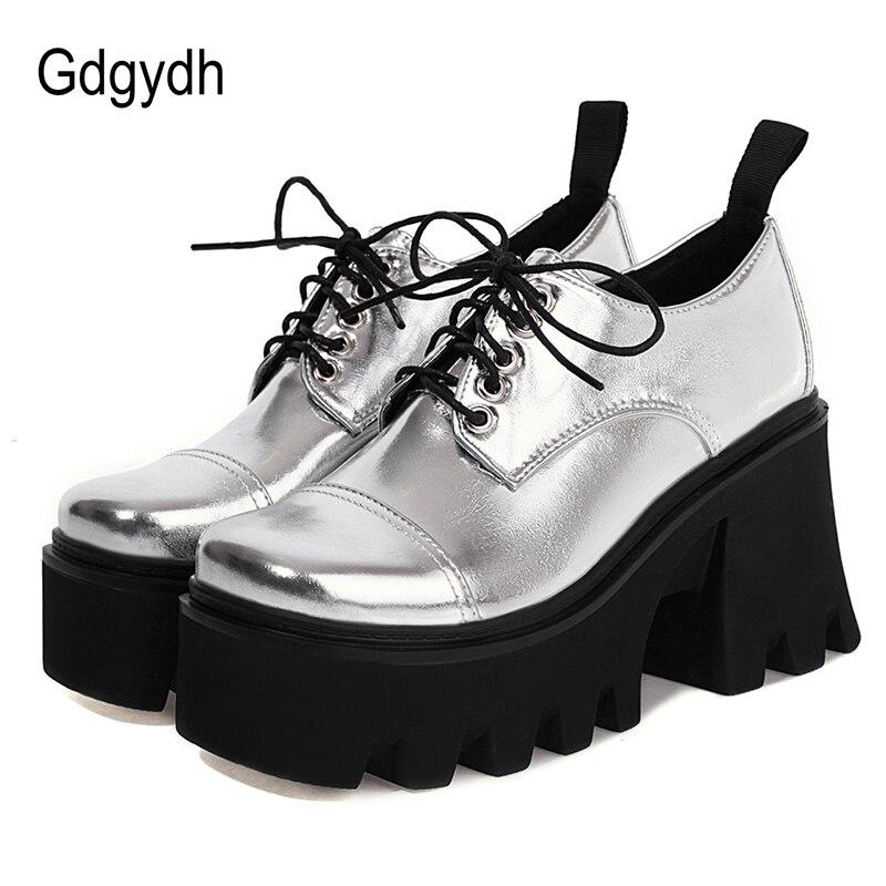 Gdgydh-حذاء نسائي بنعل سميك ، حذاء نسائي بنعل فضي ، حذاء مدرسة Harajuku اليابانية ، كعب سميك ، خفيف الوزن ، مريح ، بأربطة