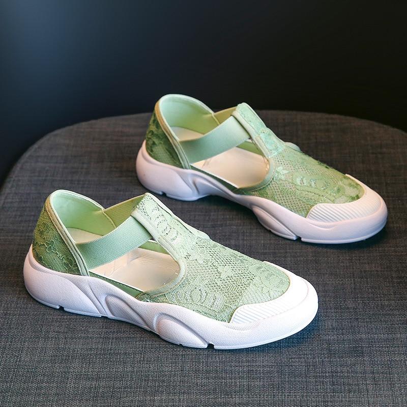 فتاة صياد الصنادل منصة امرأة حذاء مسطح غير رسمي موضة شبكة تنفس الدانتيل حديقة الأمومة أحذية للنساء أحذية رياضية