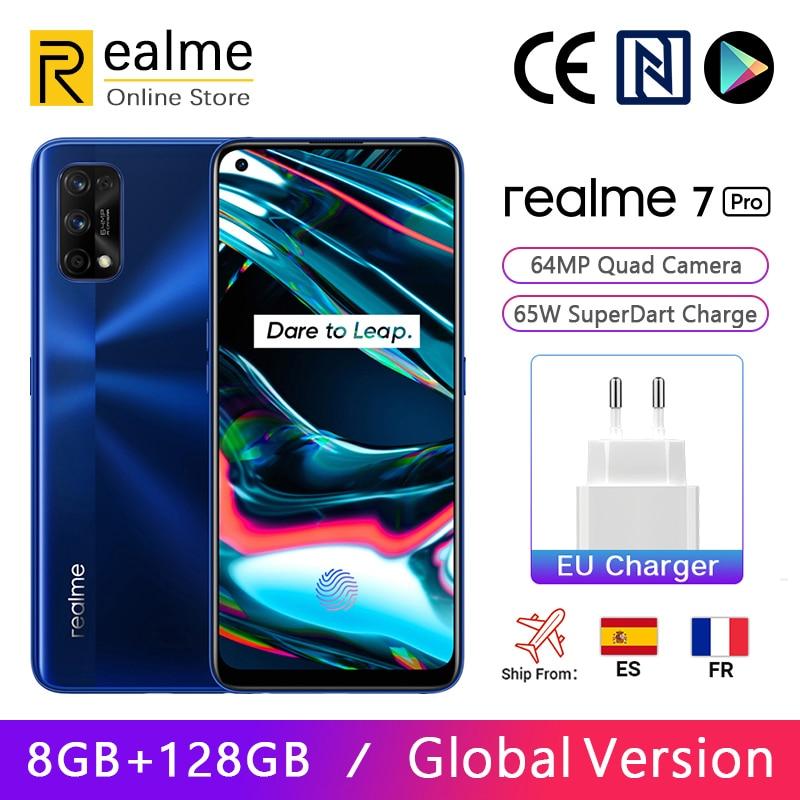 Перейти на Алиэкспресс и купить Глобальная версия Realme 7 Pro 8 ГБ 128 ГБ Смартфон Snapdragon 720G 6,4-дюймовый AMOLED-экран 64MP Четыре камеры 65 Вт SuperDart Зарядка NFC