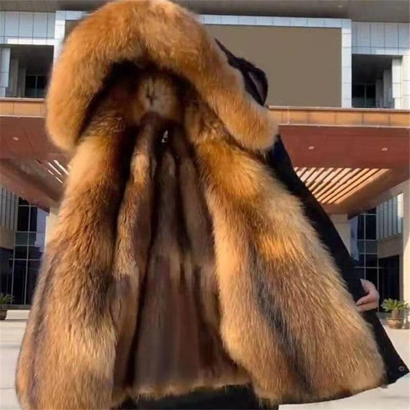 Parka de invierno abrigo grueso de algodón para hombre abrigo grande de...
