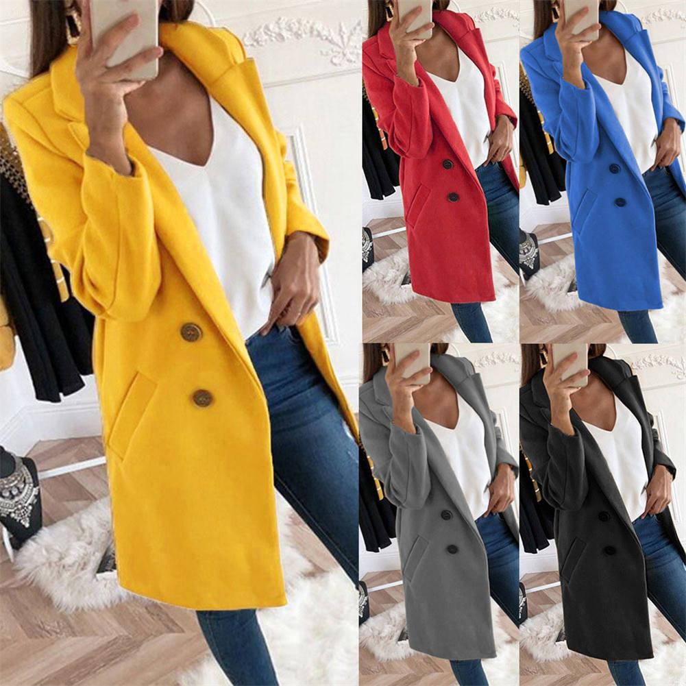 2019 otoño invierno abrigo de lana mujer medio-largo nuevo temperamento mujer Color sólido solapa botón abrigos IR-ing