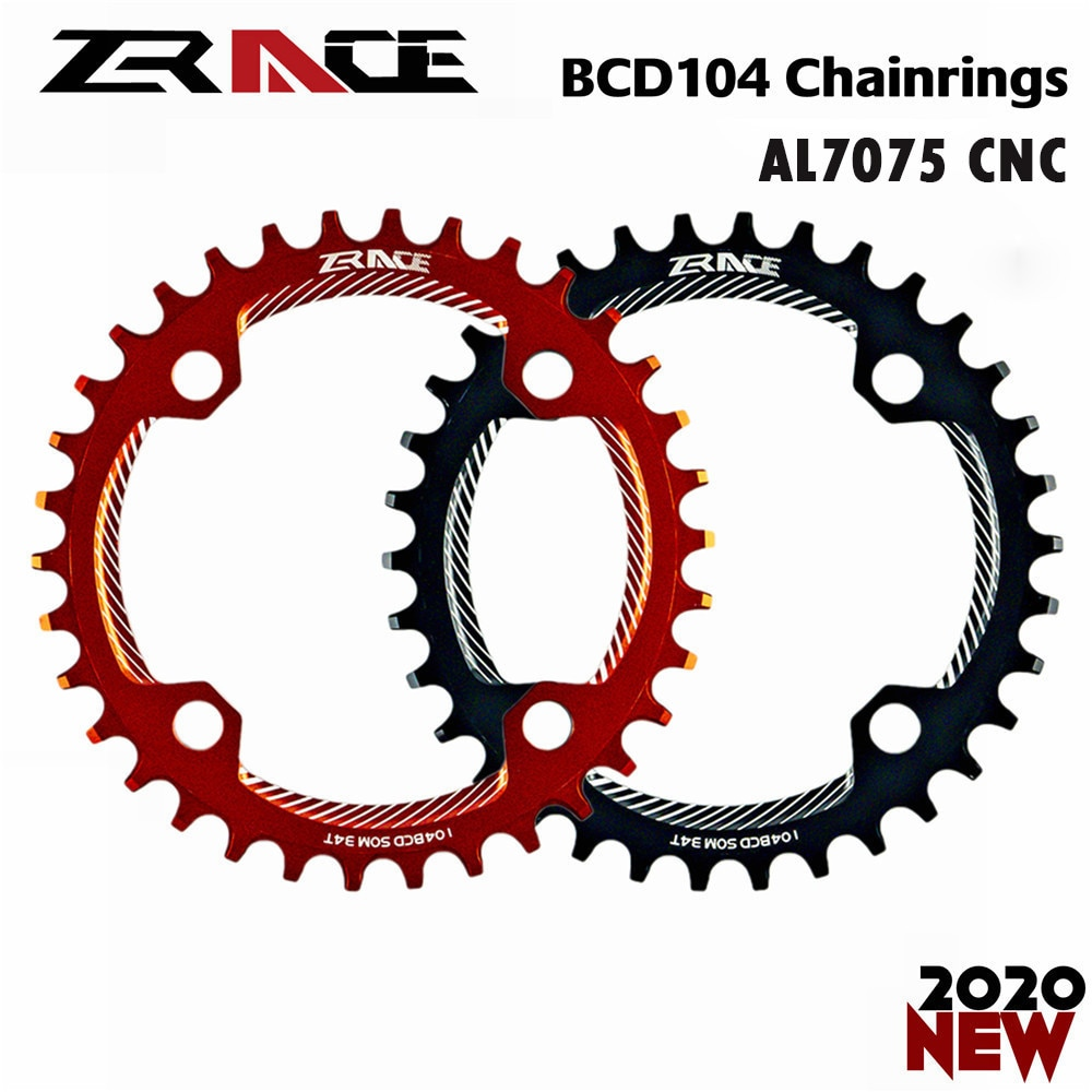 ZRACE actualizado bicicleta engranaje 32 T/34 T/36 T/38 T BCD104... rueda de bicicleta de diente de ancho estrecho AL7075 CNC para rueda de cadena MTB
