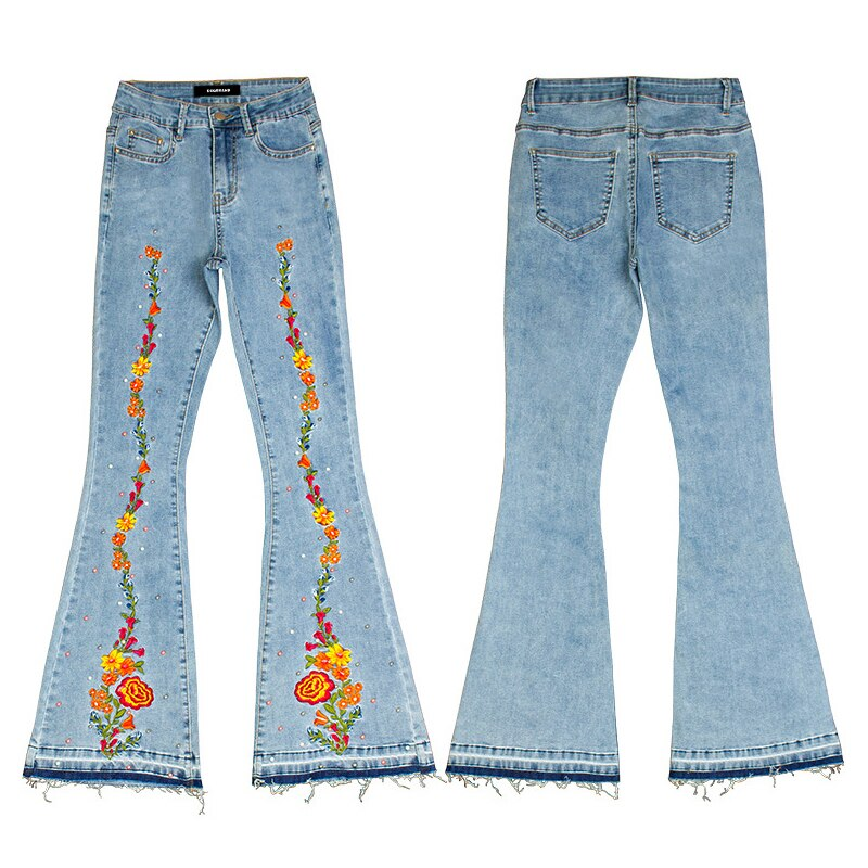 Flared pants ladies fashion jeans embroidery embroidery wide-leg pants DSQBRAND women's casual street luxury high quality