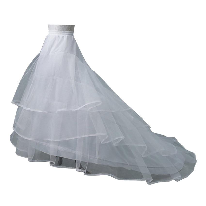 NUOXIFANG Wedding Dress Crinoline Bridal Petticoat Underskirt 2 Hoops with Chapel Train