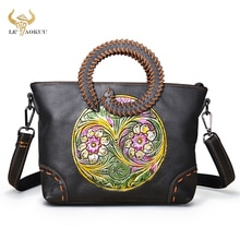 Original Leather Famous Brand Emboss Luxury Ladies Designer handbag Over The Shoulder bag Women Fema