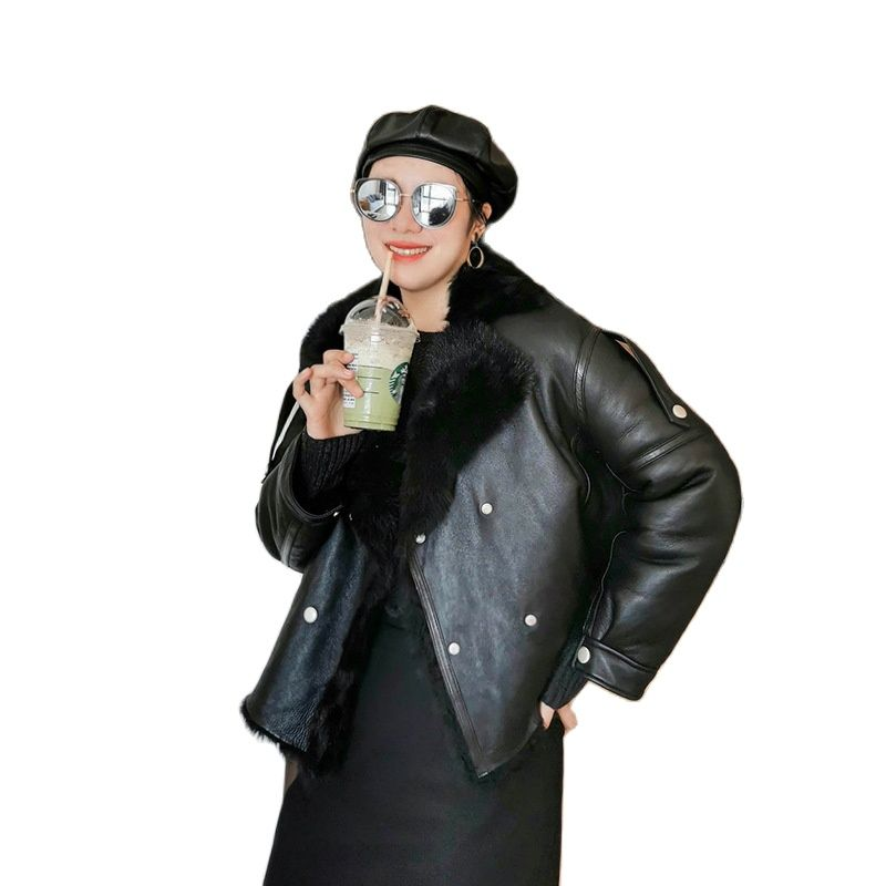 Women Genuine Leather jacket factory direct sales ladies loose fur coat winter jacket women fur jackets one fur trim coat winter