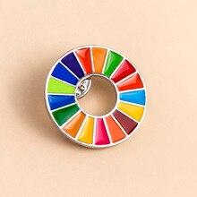Enamal 17 Farben Nachhaltige Entwicklung Ziele Brosche Vereinigten Nationen SDGs Pin Abzeichen Mode Regenbogen Pins Für Frauen Männer