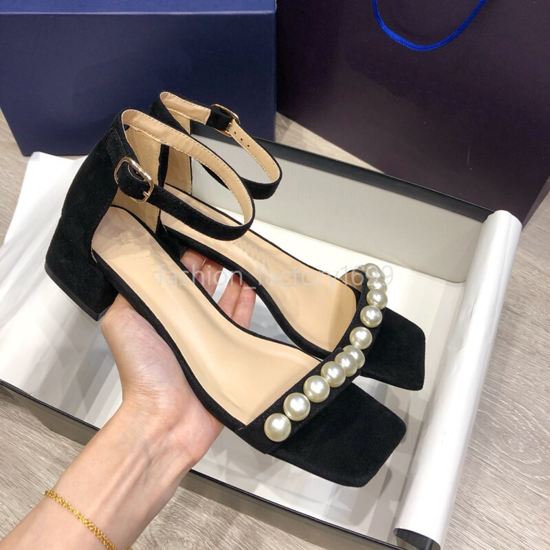 Summer women's sandals spring and autumn leather fashion office Pearl Roman shoes metal buckle thick heel designer style elegant enlarge