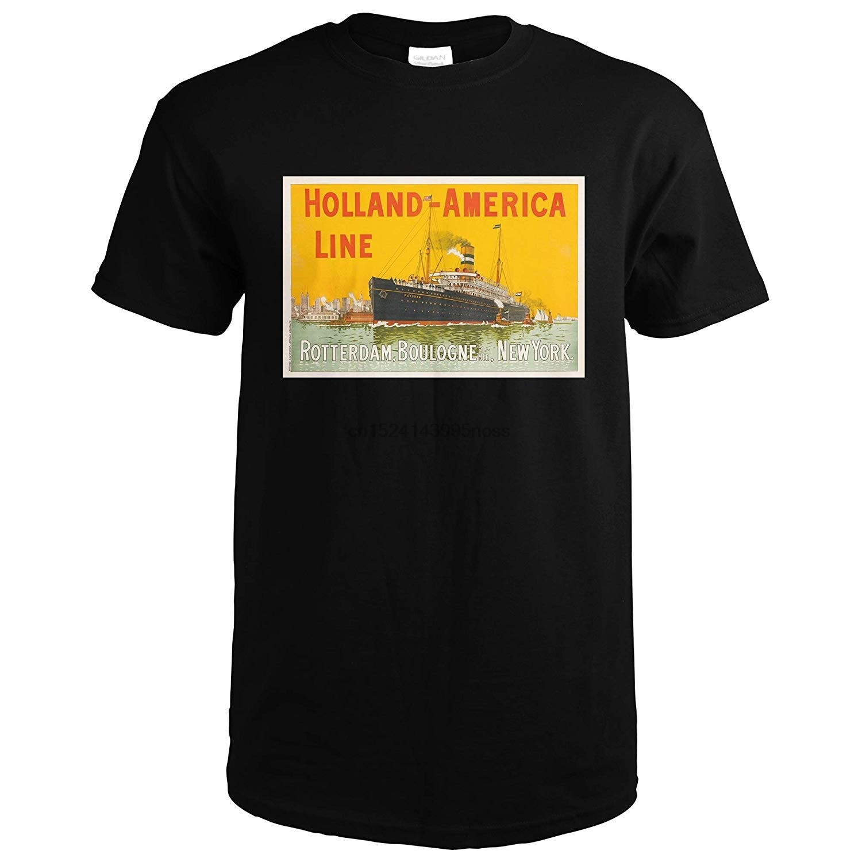 Línea Holland-America-rótter-boulogne s-mer Nueva York Bélgica c. 1910 - Vintage Ad 62246 (camiseta negra mediana)