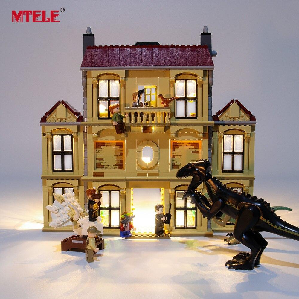 Mtele marca led light up kit para indoraptor rampage em lockwood iluminação conjunto compatile com 75930