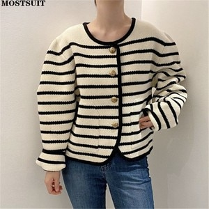 Elegant Vintage Striped Cardigan Sweater Women Autumn Winter Full Sleeve O-neck Metal Buttons Loose Knitted Coat Jumpers Tops