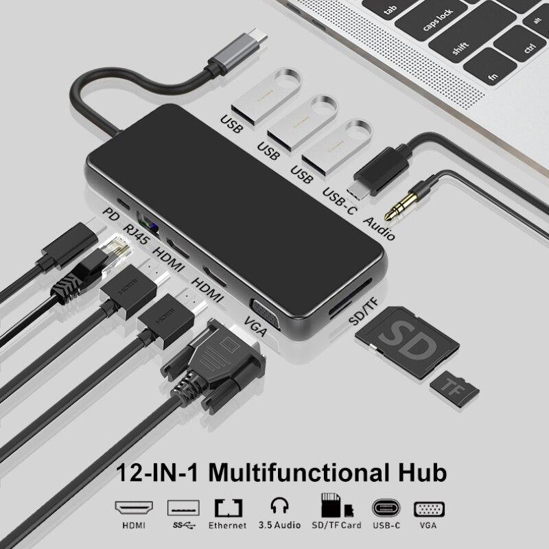 USB 3.0 نوع-C Hub إلى HDMI-متوافق مع محول 4K 3 USB Hub 3.0 TF SD قارئ فتحة PD ل MacBook Pro/Air 2018-2020 USBC الخائن