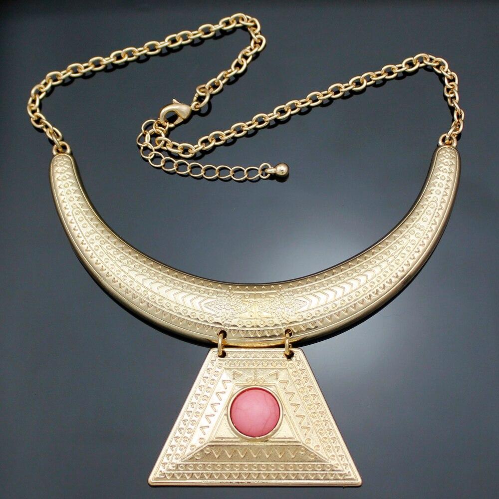 AZTE oro plateado reina egipcia Cleopatra Illuminati pirámide babero Maxi declaración cadena collar gargantilla joyería