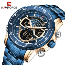 NAVIFORCE Fashion Dual display Men Blue Watch Luxury Quartz Man Watches Military Sport Waterproof Ma