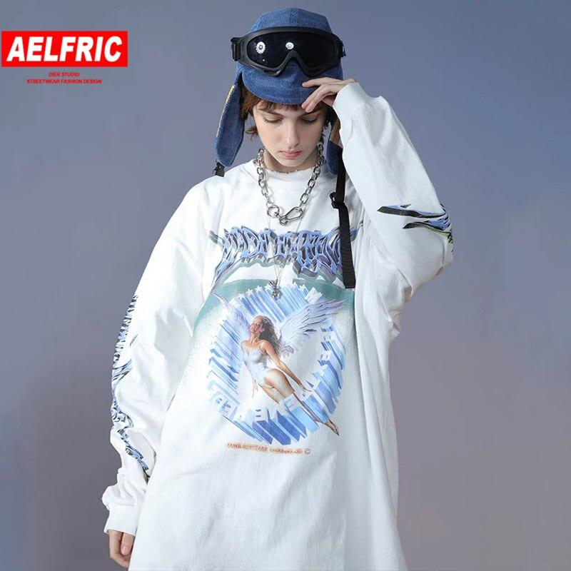 Camiseta de pareja Aelfric, sudadera de Ángel para mujer, ropa de calle, Jersey de algodón 2020, camiseta de Hip Hop, camiseta de manga larga de gran tamaño