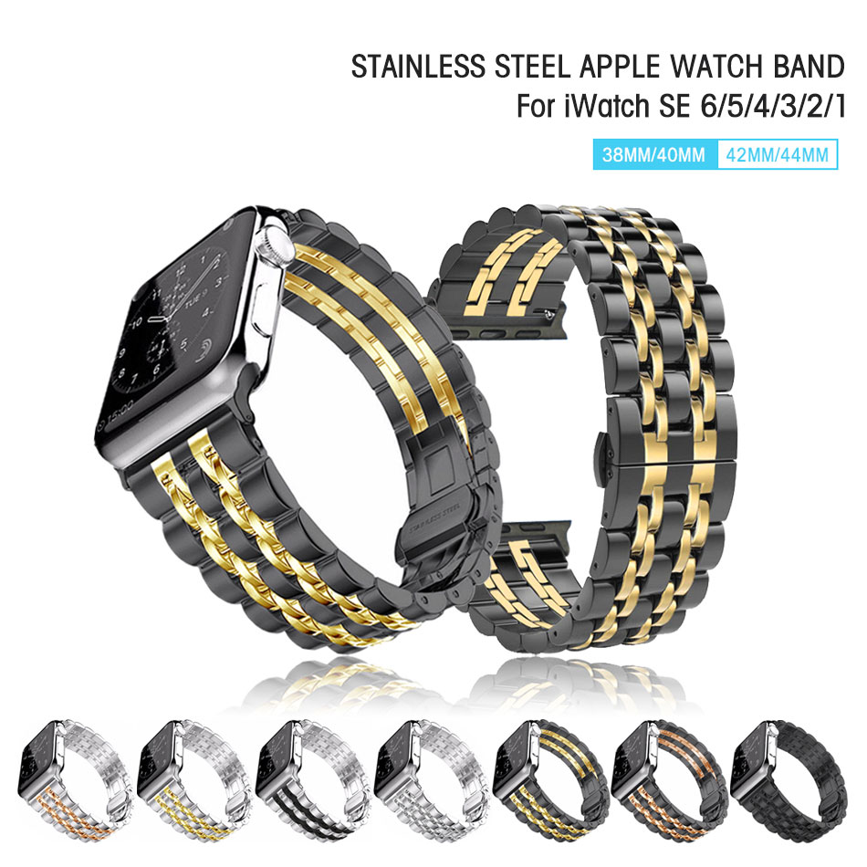 Luxury Stainless Steel Watch Band For Apple Watch 42MM 38MM Bracelet Band Strap for iWatch Series 6 SE 5/4/3/2/1 44MM 40MM