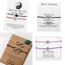 17KM mode pierre infinie Couples Bracelets ensemble & carte de Message pour les femmes hommes meilleur ami Distance Bracelet 2019 souhait bijoux
