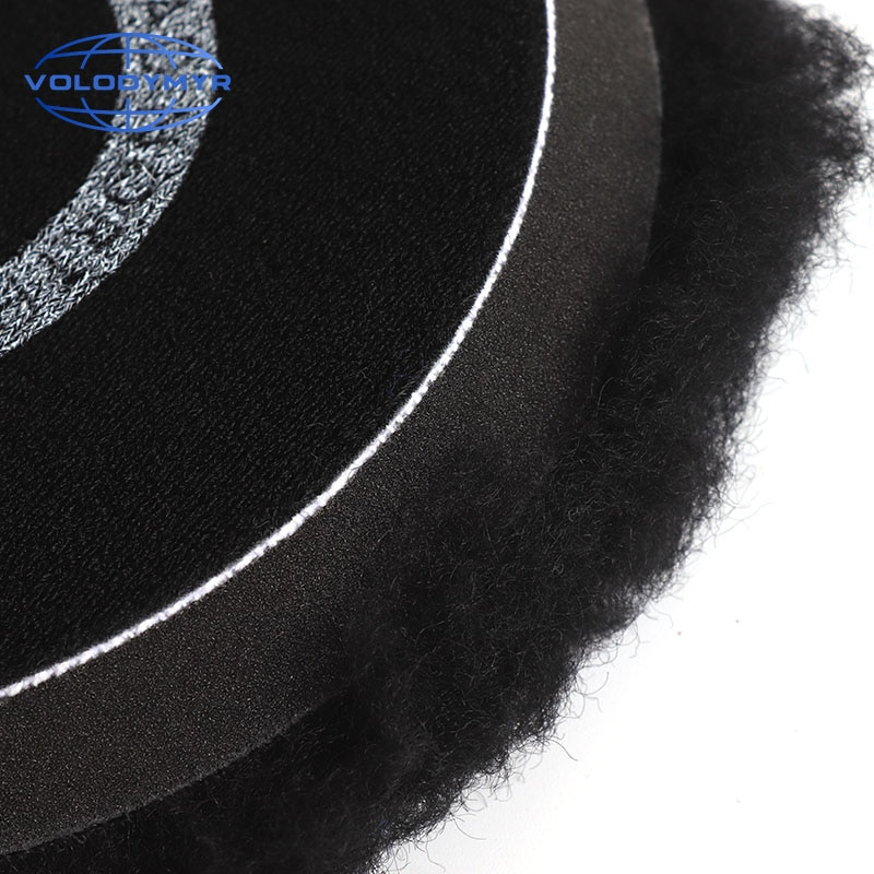 Volodymyr Wool Polishing Pad 6 or 7Inch Black with 5inch Hook and Loop for Polishing Polish Car Buffer Polisher AccessoriesTools