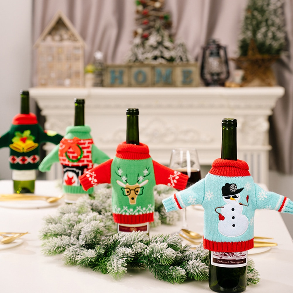 Holiday Wine Bottle Cover Clothes Kitchen Dinner Brandy Rum Bottle Bag Merry Christmas Party Ornamen