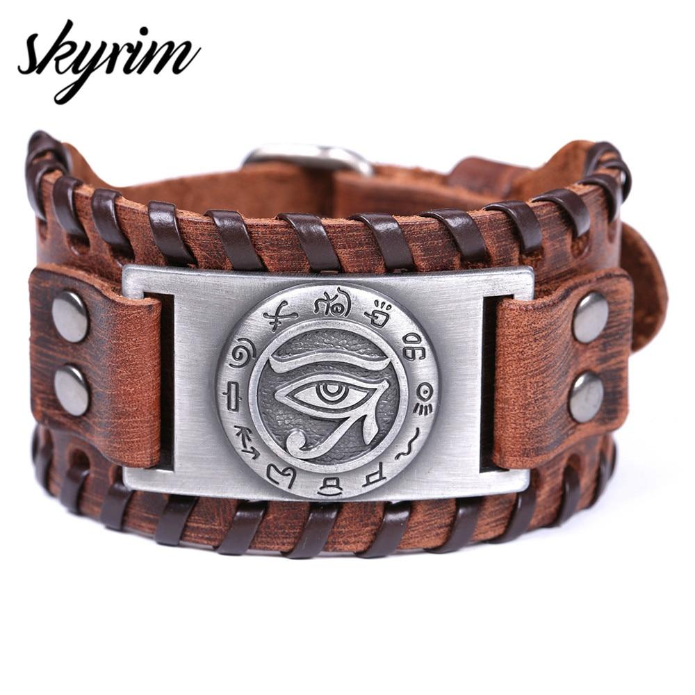 Skyrim מתכוונן עתיק מצרים עור צמיד העין של הורוס סמל ויקה קמע צמידי בציר קמע תכשיטי עבור גברים