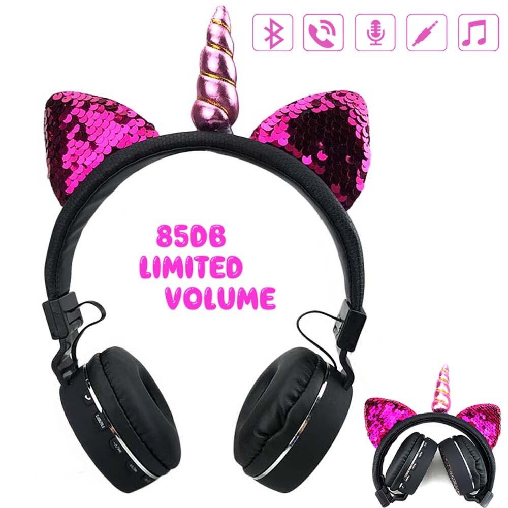 JINSETR-auriculares Oreja de Gato, por Bluetooth, auriculares estéreo plegables para niños con soporte para reproductor de música, auriculares manos libres para niños y niñas