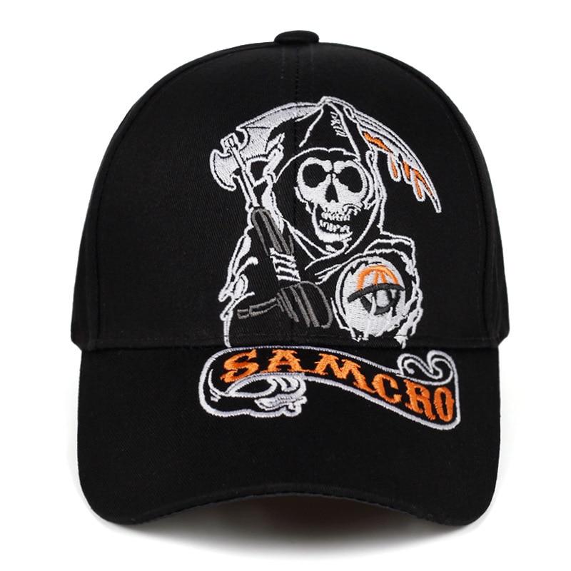 100% Gorra de béisbol de algodón SOA Sons of Anarchy cráneo bordado sombrero Casual gorra de moda de carreras de motos sombreros de sol deportivos