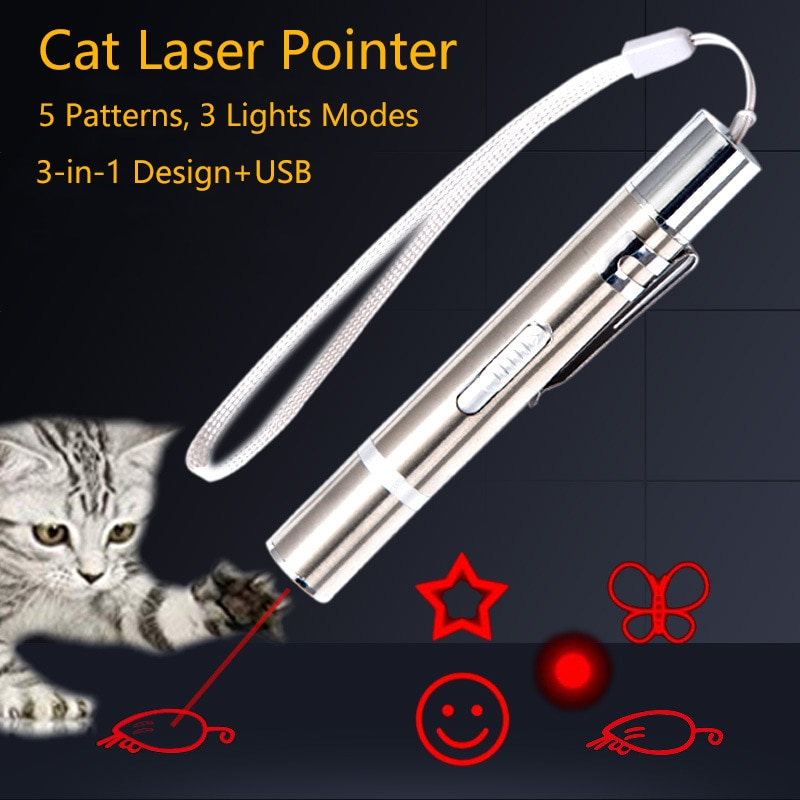 Pet Toy USB Rechargeable 3 In 1 Funny Cat Chaser Stick Mini Flashlight Red LED Laser Pointer Funny C