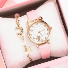 Fashion Kids Leather Strap Quartz Watch Children Set Bracelet Watch Student for Girls clock Kids Wat