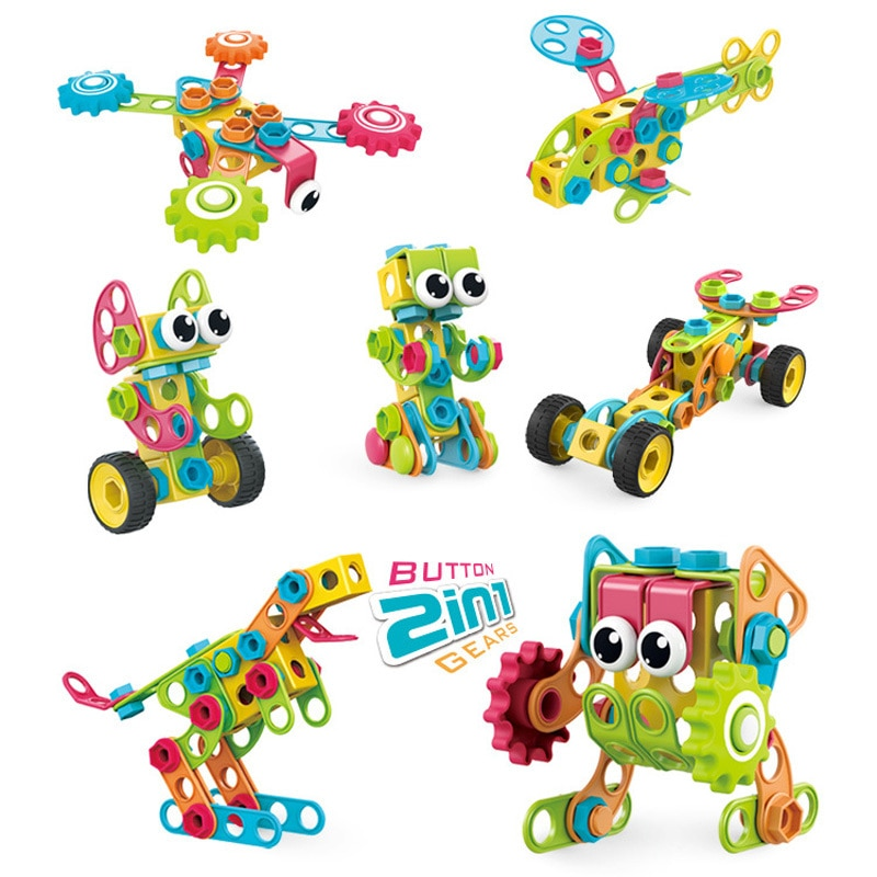 DIY Building Block Electric Drill Nut Disassembly Combination Matching Combination Puzzle Screwing Screw Toy Toys For Children