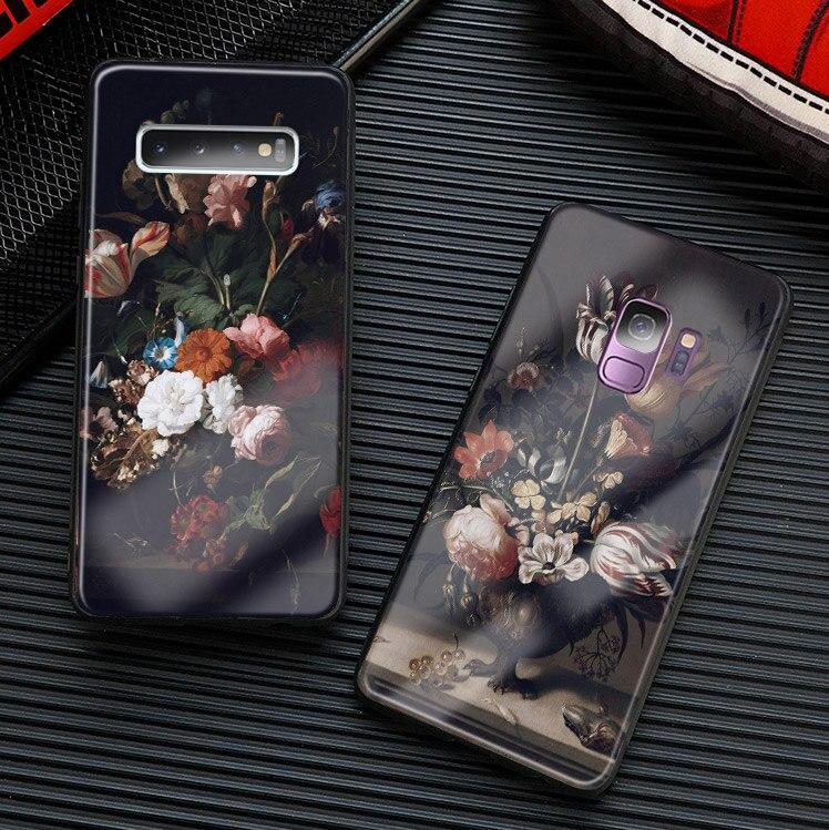 Arte barroco clásico pintura Flor de silicona suave funda de teléfono carcasa para Samsung Galaxy S8 S9 S10e S10 Note 8 9 10 Plus