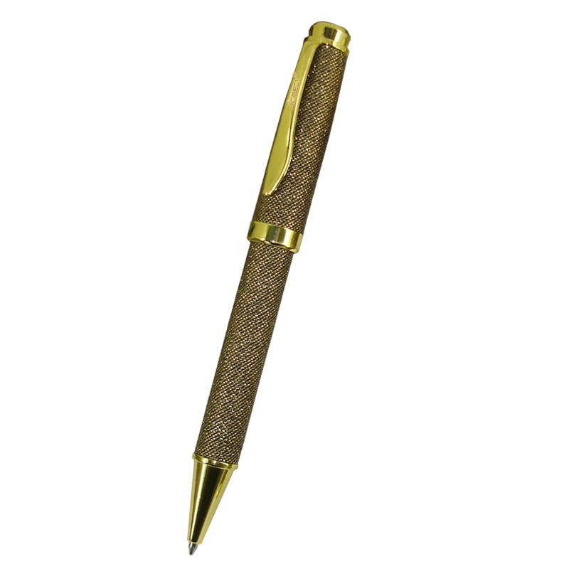 Acmecn ouro que bling a pena de bola da tela com chapeamento nomeação do ouro para presentes de natal azul recarga mont preto metal esferográfica canetas