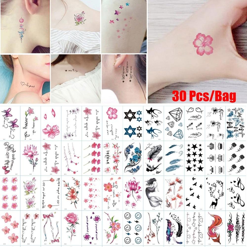 30 patrones/Paquete de larga duración a prueba de agua tatuajes temporales pegatinas extraíbles arte corporal transferencia de agua flores tatuajes cubrir cicatrices