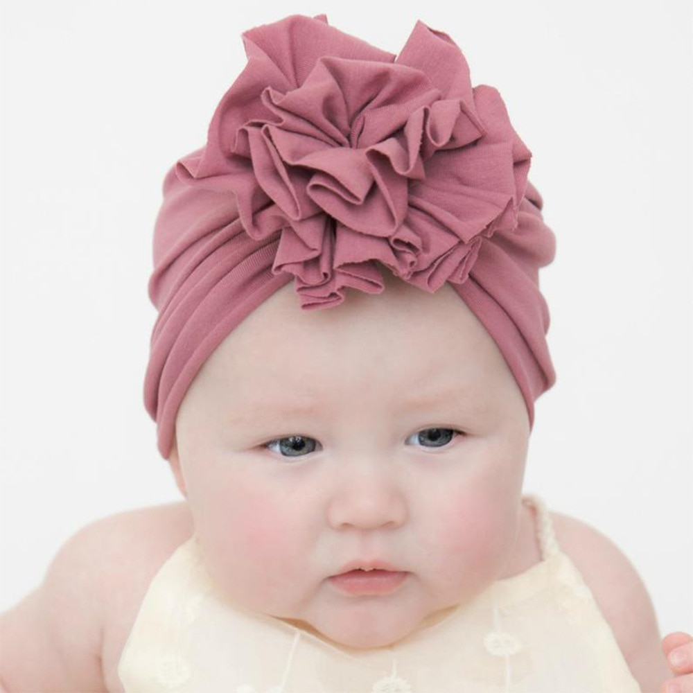 Niños sólido sombrero para niños gorra recién nacido niñas fotografía accesorios primavera otoño Modis gorro estilo turbante accesorios infantiles flor lazo