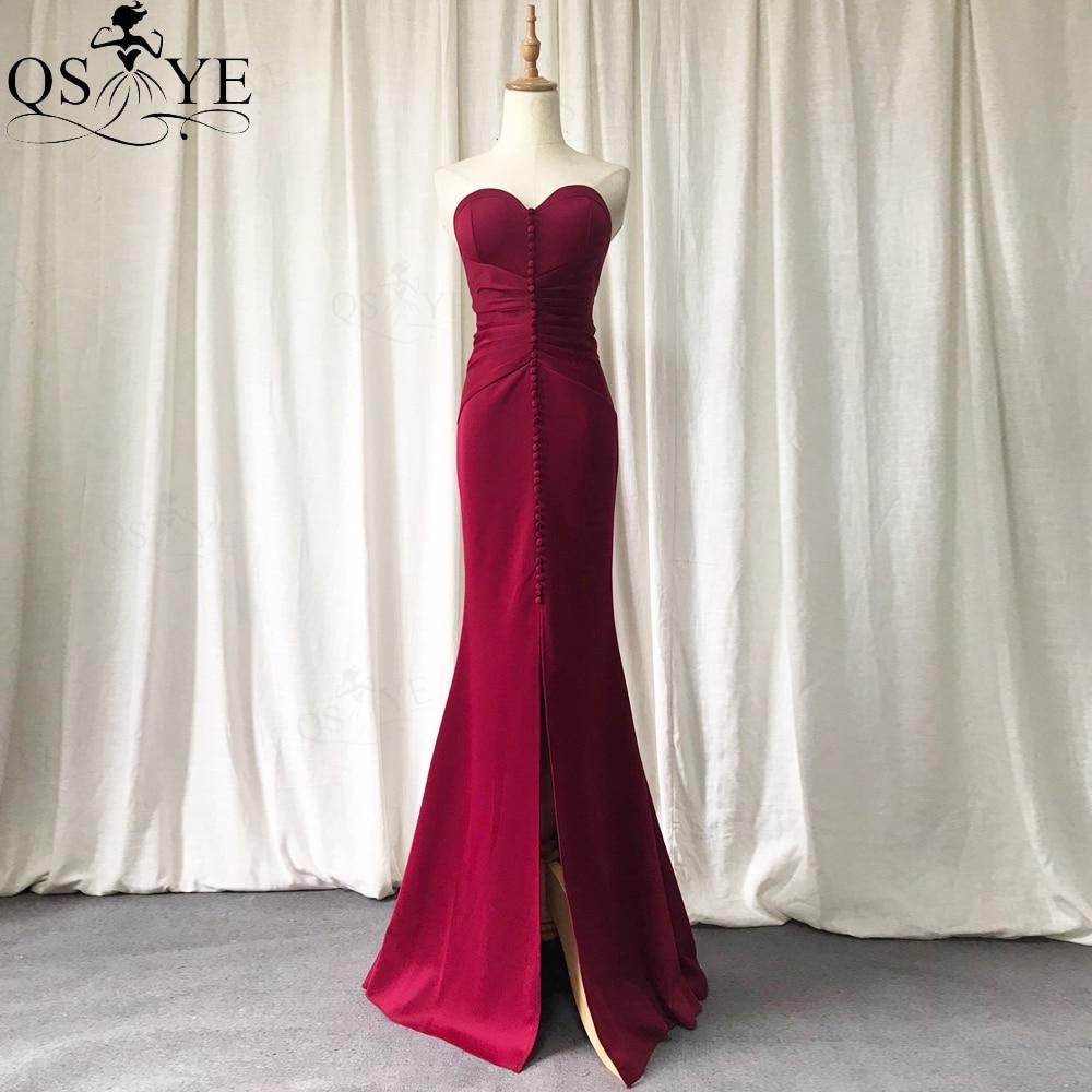 فستان سهرة حورية البحر ، أحمر داكن ، ياقة على شكل قلب ، أزرار ، أنيق ، مجمع ، مرن ، فستان رسمي ، شق مثير
