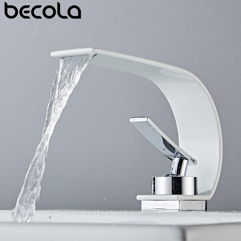 Becola الجملة والتجزئة سطح جبل شلال حوض للحمام صنبور الغرور أحواض من الزجاج صنبور حوض خلاط المياه الباردة والساخنة