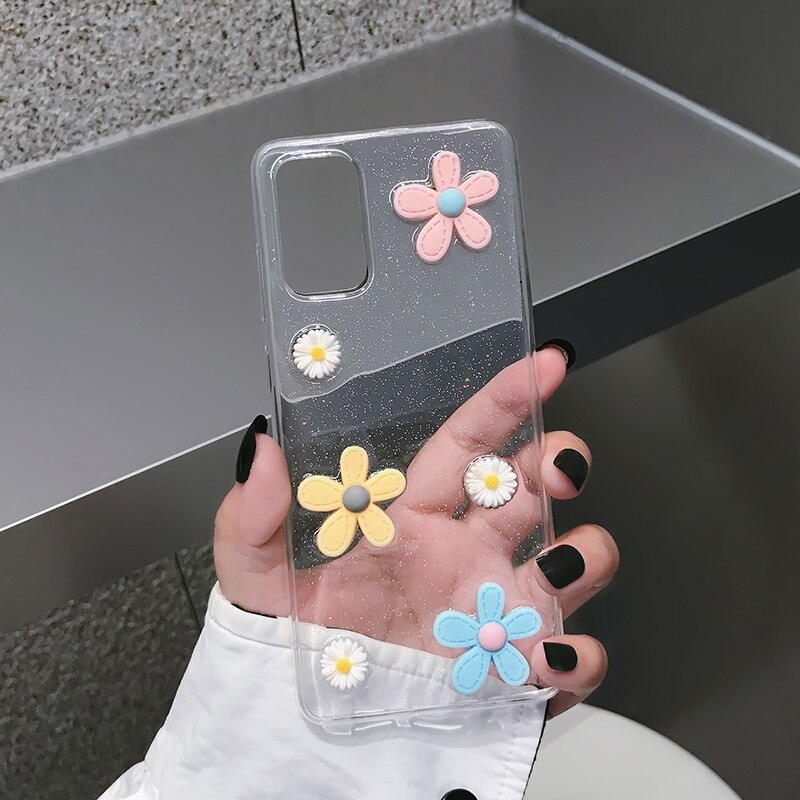 Stereo flower is suitable for Samsung note20 ultra mobile phone case S20 S10 transparent note9 8 s9 note 10 plus Galaxy 21 case