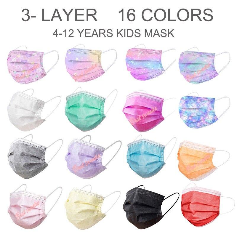 50/100 pces crianças máscara para a cara com filtro crianças máscaras de boca estudante 3 camadas máscara protetora descartável preta para crianças criança roxo