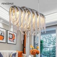 nordic loft tassel chain pendant lamp design art luxury led living dining room bedroom hanging lamp home villa decor luminaries