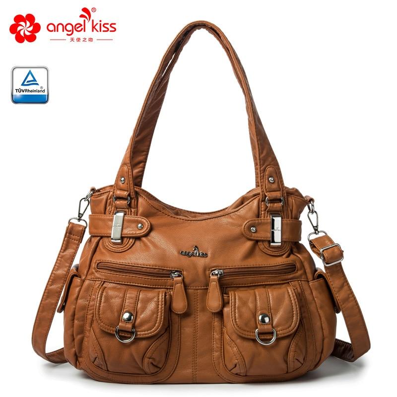 Angelkiss العلامة التجارية صديقة للبيئة غسلها بو جاكيت جلدي مقبض حقيبة كتف حقيبة يد واسعة للسيدات من تصميم مقصورتين