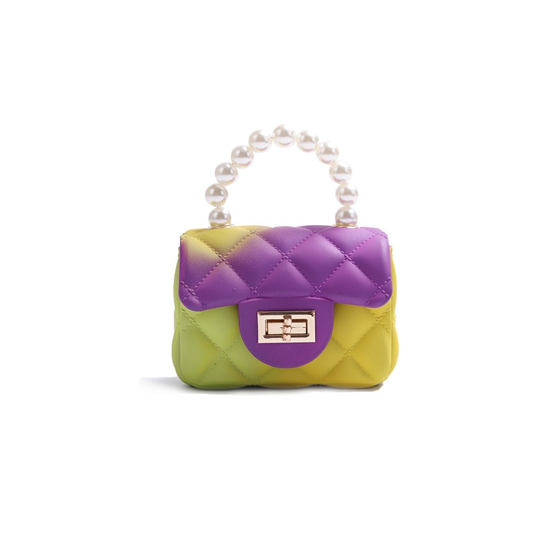 Jelly Bags for Kids,Candy Small Shoulder Crossbody Bag Chain Purses,Rainbow Multicolor Small Purses and Pearl Handbags for Kids