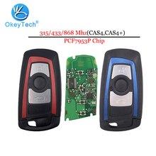 Okeytech 3 zamiennik z przyciskami dla Bmw 5 7 seria F30 X5 X6 E39 pilot zdalnego transpondera inteligentny klucz samochodowy 315/433/868Mhz niebieski czerwony